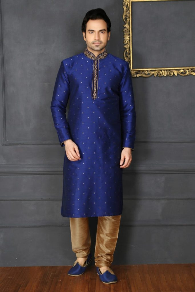 Blue Art Silk Kurta Pyjama Online UK - Shopkund