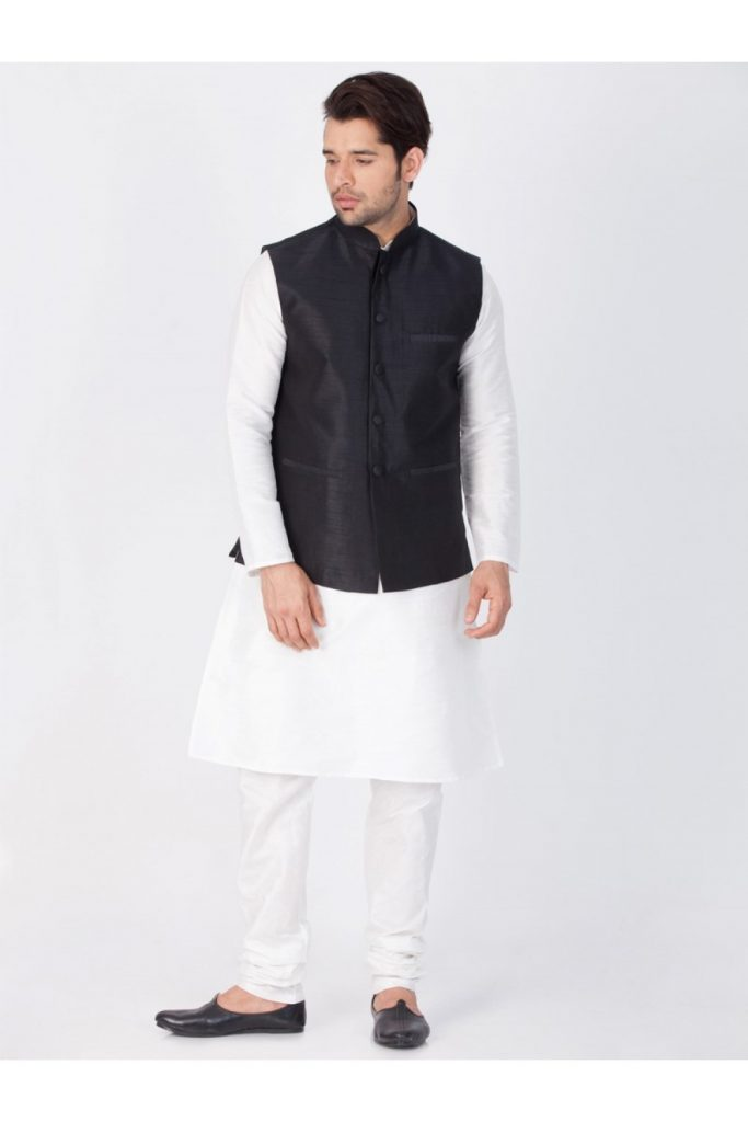 White Cotton Silk Readymade Kurta Payjama With  Black Nehru Jacket