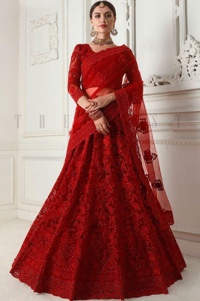 Red Net Bridal Lehenga Choli Online - Shopkund
