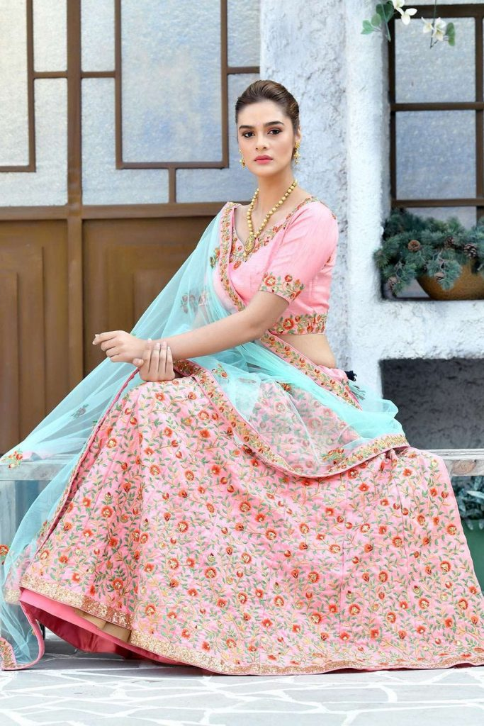 Pink floral embroidered lehenga choli uk - shopkund