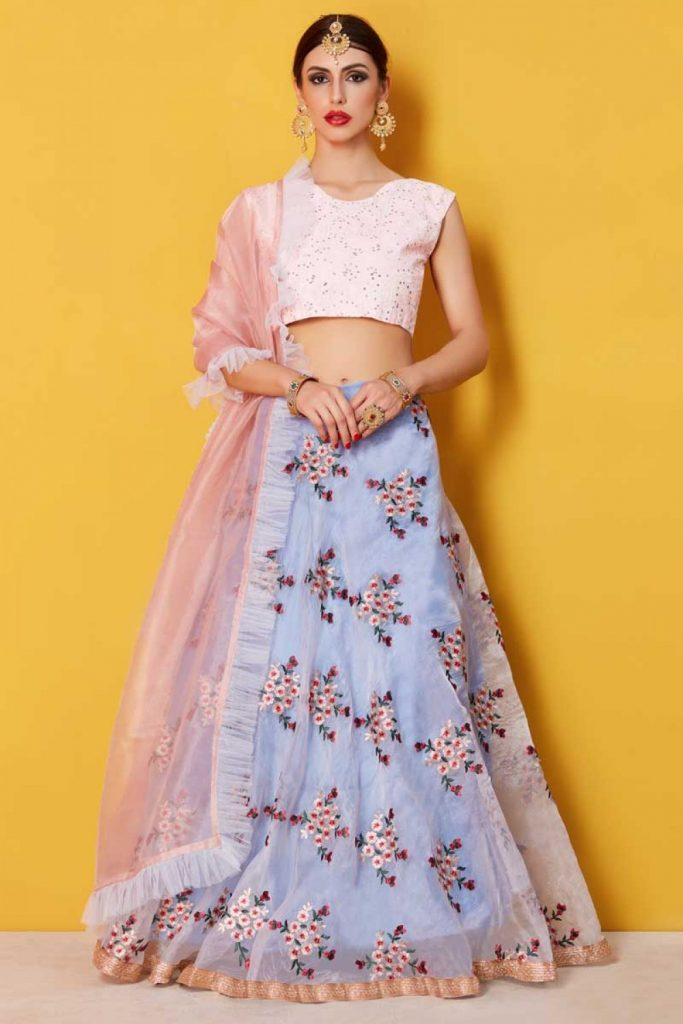 Fashionable blue net lehenga choli at shopkund