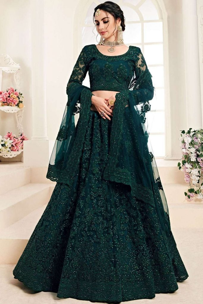 Dark teal green Net Lehenga Choli