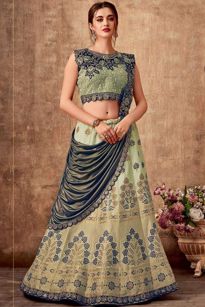 Green silk lehenga choli online at shopkund