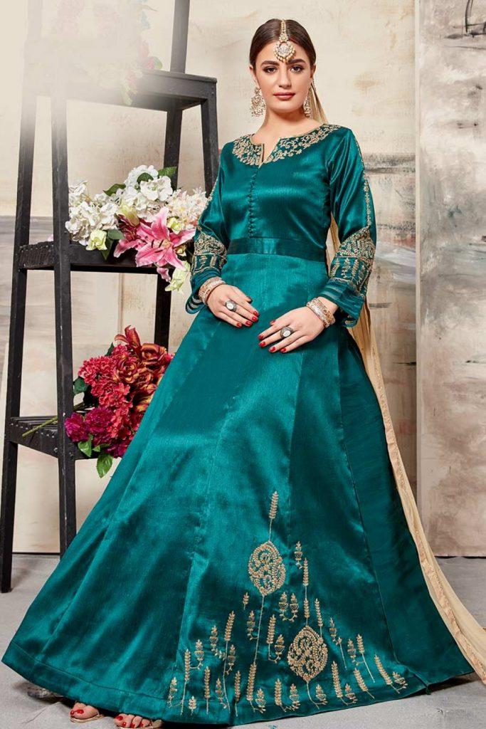 Teal Green Anarkali Suits Online UK - Shopkund