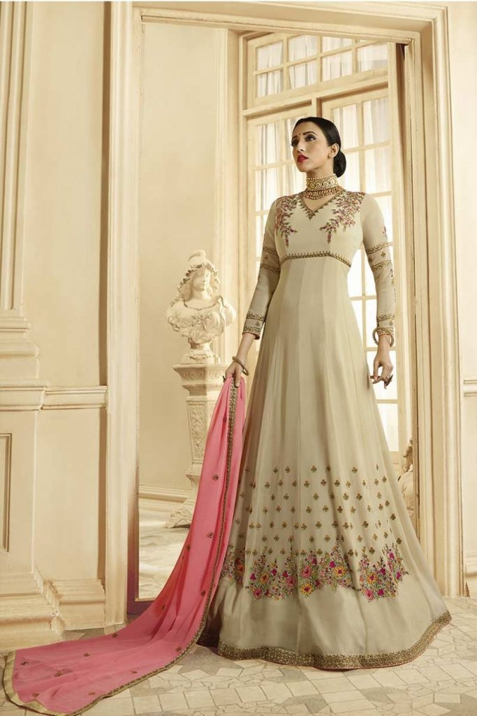 Beige Anarkali Suit - Shopkund