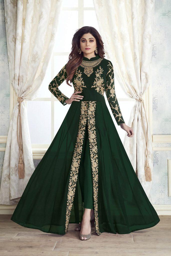 Green Bollywood Anarkali Suits UK - Shopkund