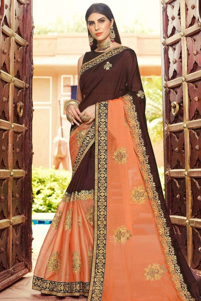embroidered sarees online uk - shopkund