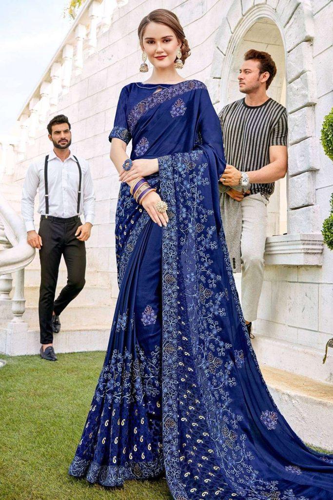 Royal Blue Saree Online uk - Shopkund