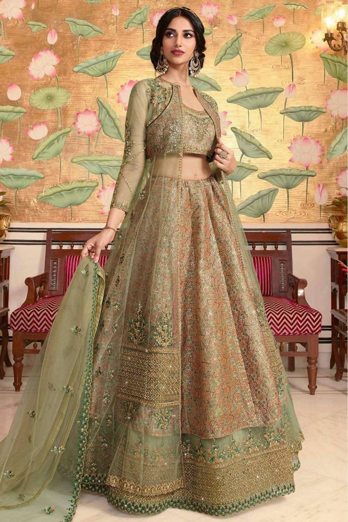 Olive green Double Layer Lehenga choli Uk - Shopkund