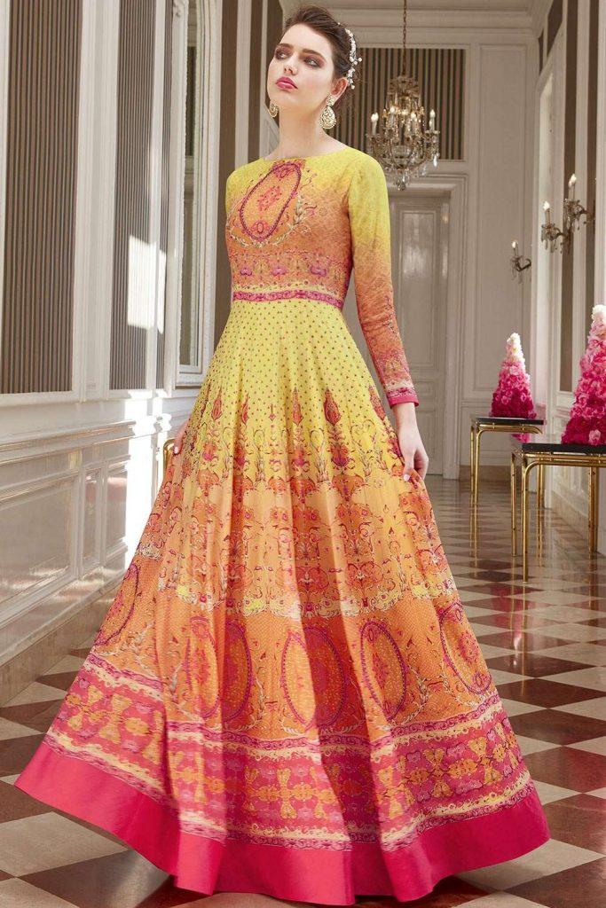 Yellow & Pink Anarkali Suits Online UK - Shopkund