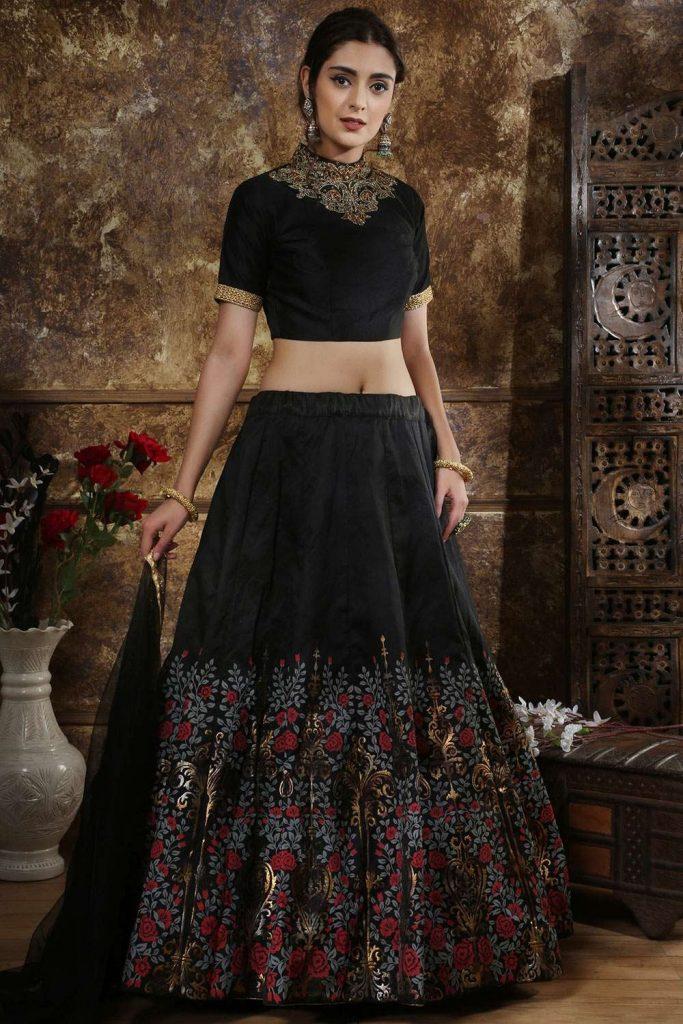 Black Silk Lehenga Choli LC2581 - Shopkund