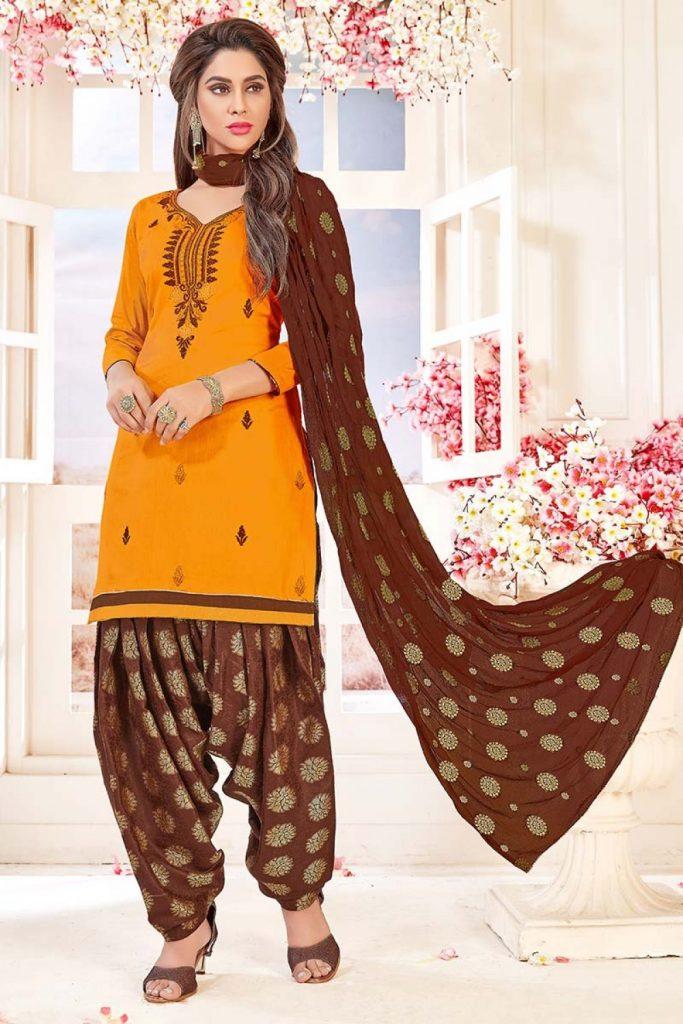 Orange Cotton Patiala Suit PS1339 - Shopkund