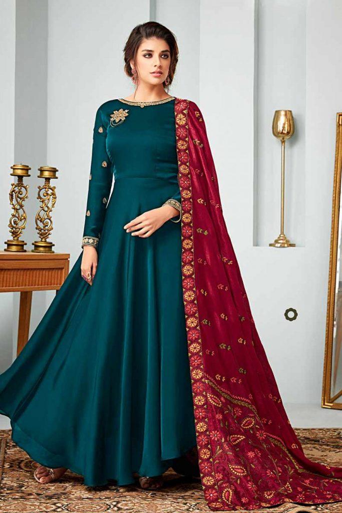 Blue Anarkali Gown Online - Shopkund