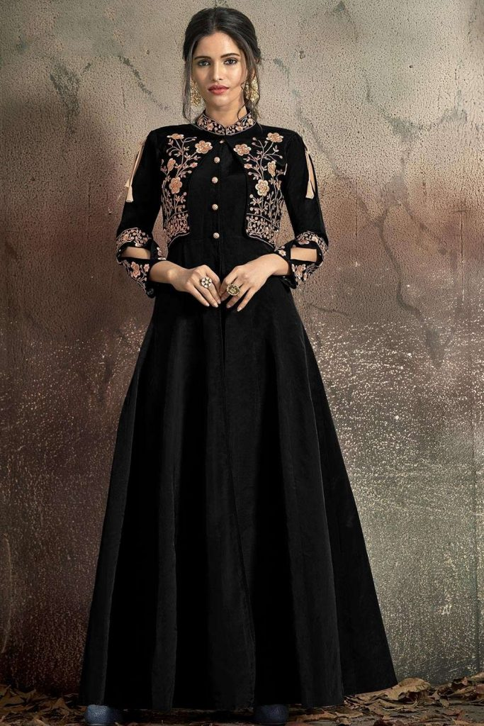 Black embroidered Gown Dress UK
