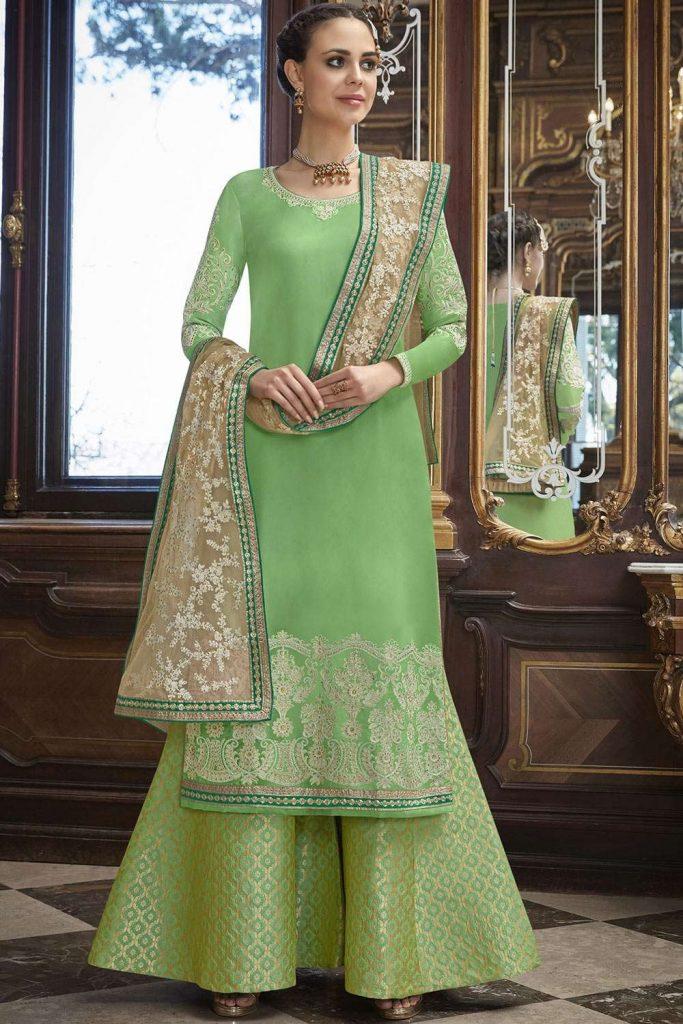 Light green Silk Palazzo Suits - PZ0982