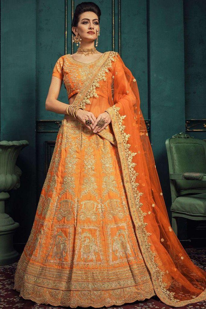 Orange Embroidered Lehenga choli UK
