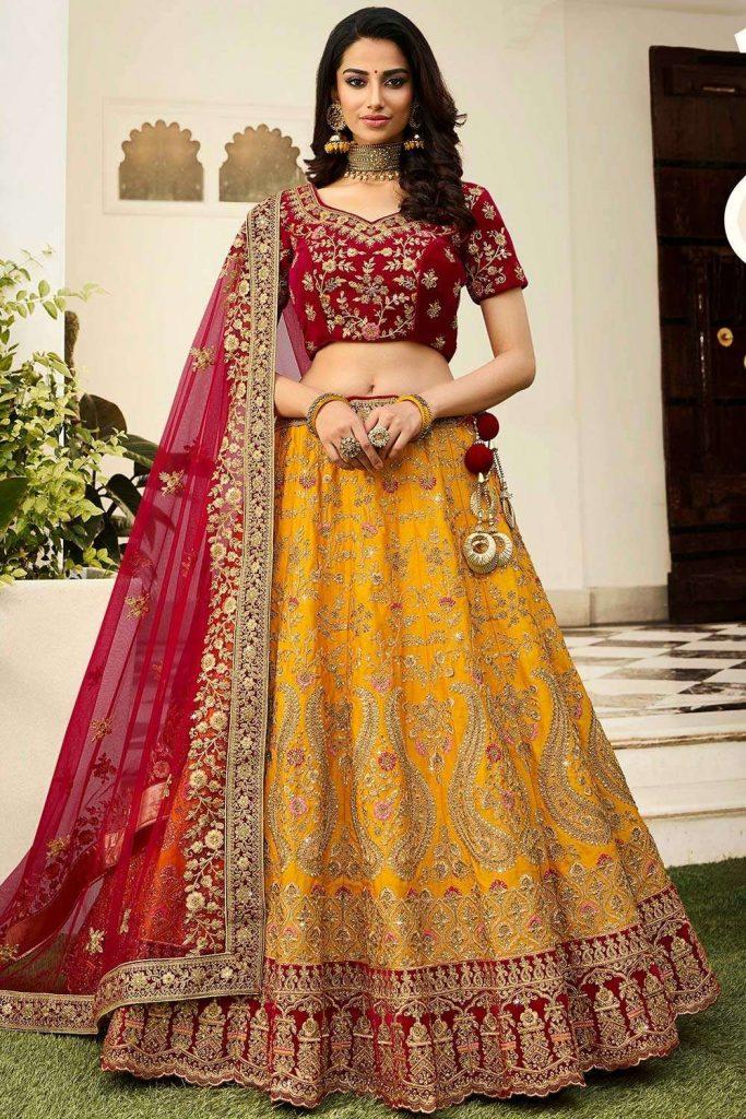 yellow bridal lehenga choli uk - shopkund