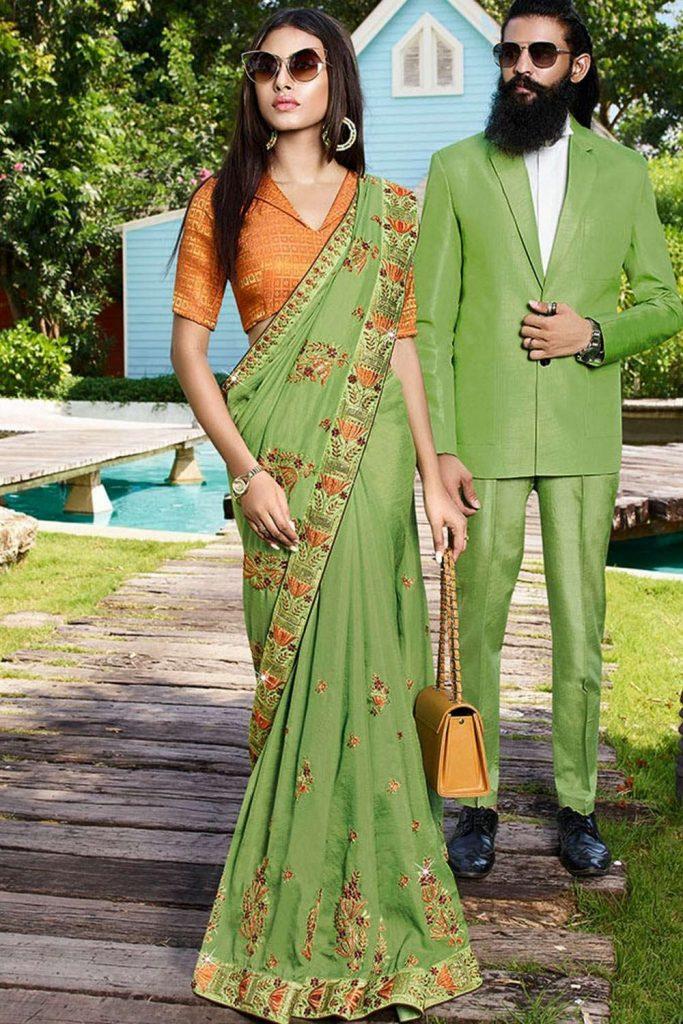 Green Silk Sarees Online - Shopkund