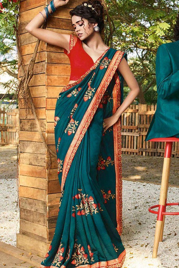 Diwali Sarees online in Blue - Shopkund