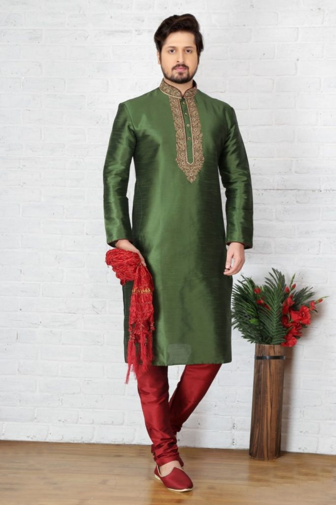 Green Silk Kurta Pyjama Online UK - Shopkund