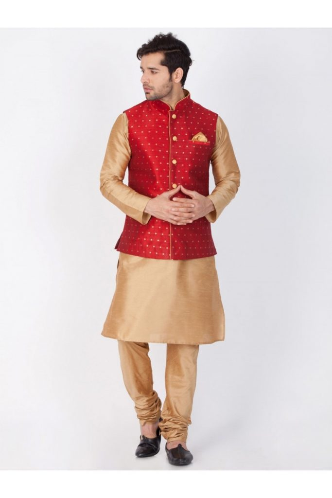 Gold Kurta Pyjama with Jacket Online UK - Shopkund