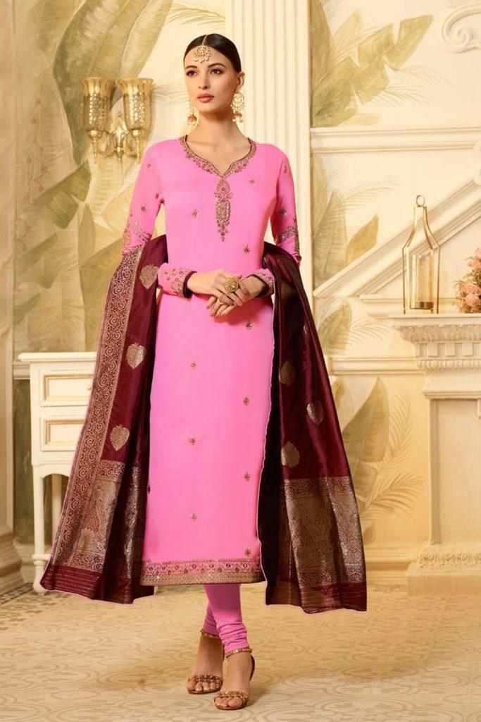 Pink Satin Georgette Plus Size Churidar Suit - Shopkund