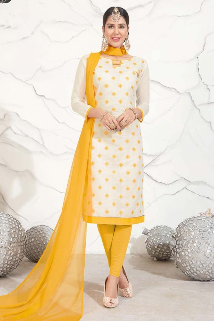 Yellow plus size Churidar Suits Online - Shopkund