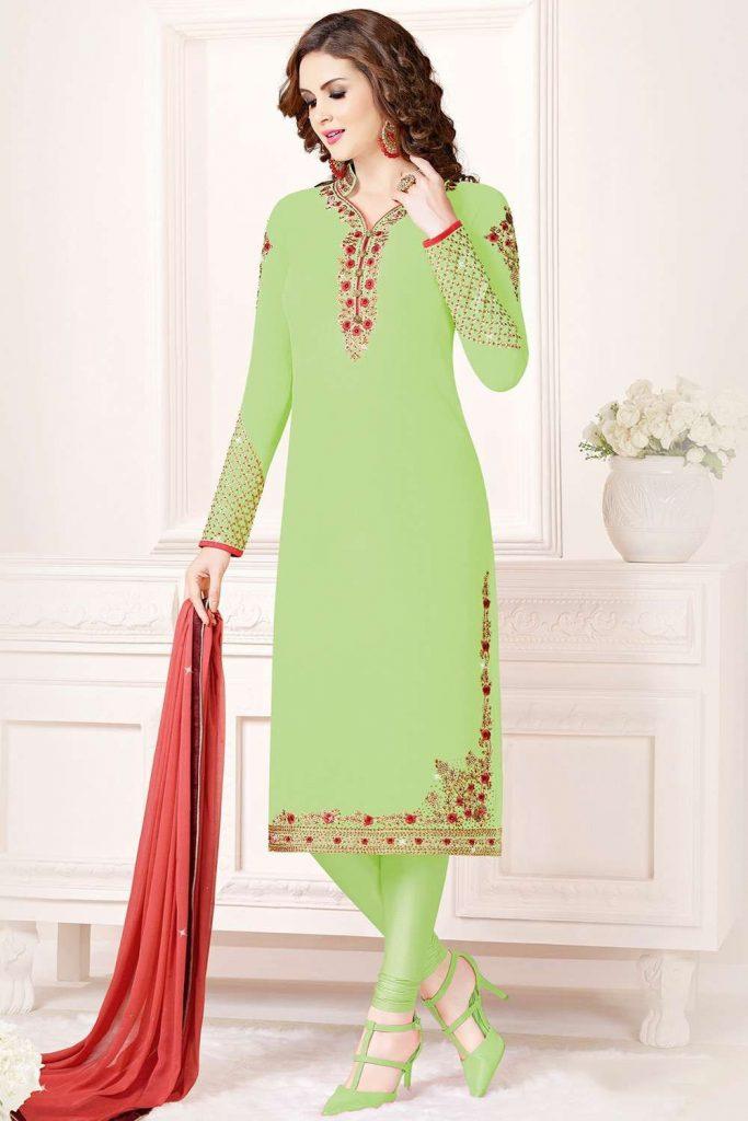 Light green Georgette plus size Churidar Suit - Shopkund