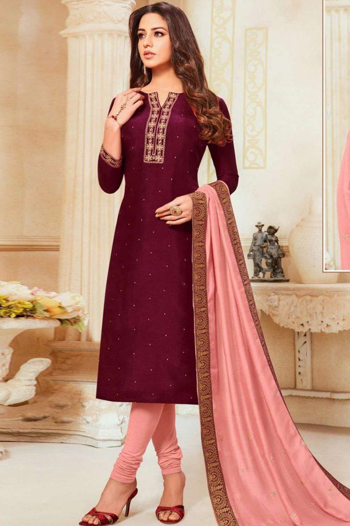 Pink,magenta Silk plus size Churidar Suit - Shopkund