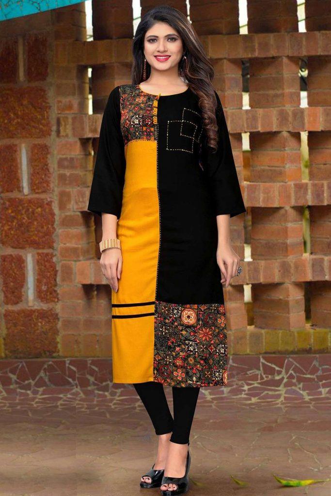 Multicolor Rayon Kurti Online UK - Shopkund