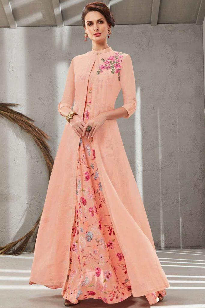 Peach Polyester Kurti Online UK - Shopkund