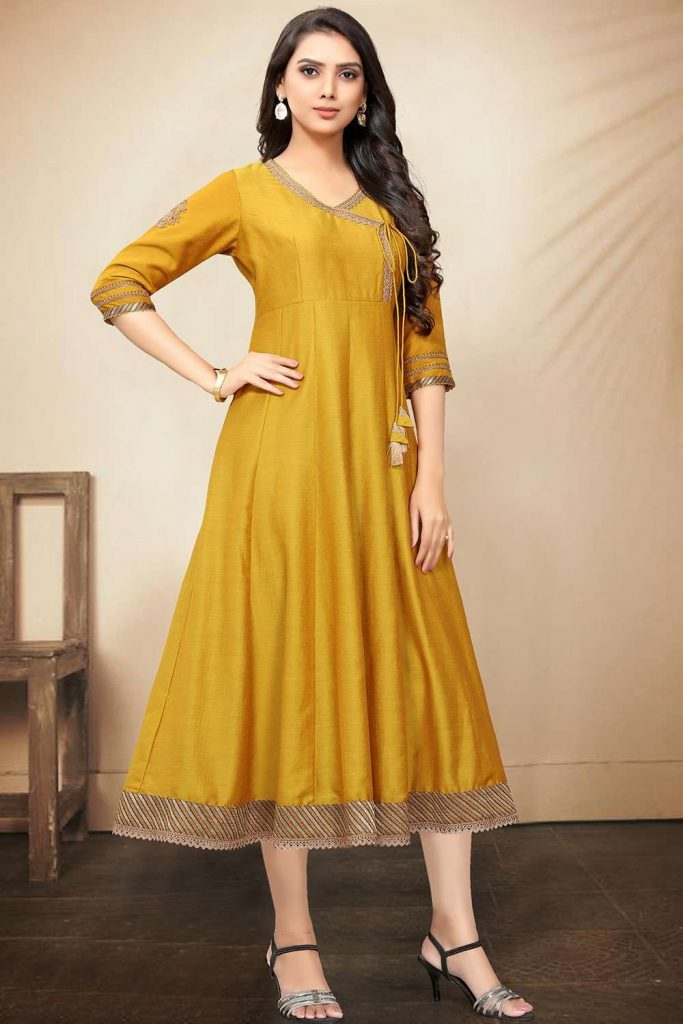 Yellow tussar art silk anarkali kurti UK - Shopkund
