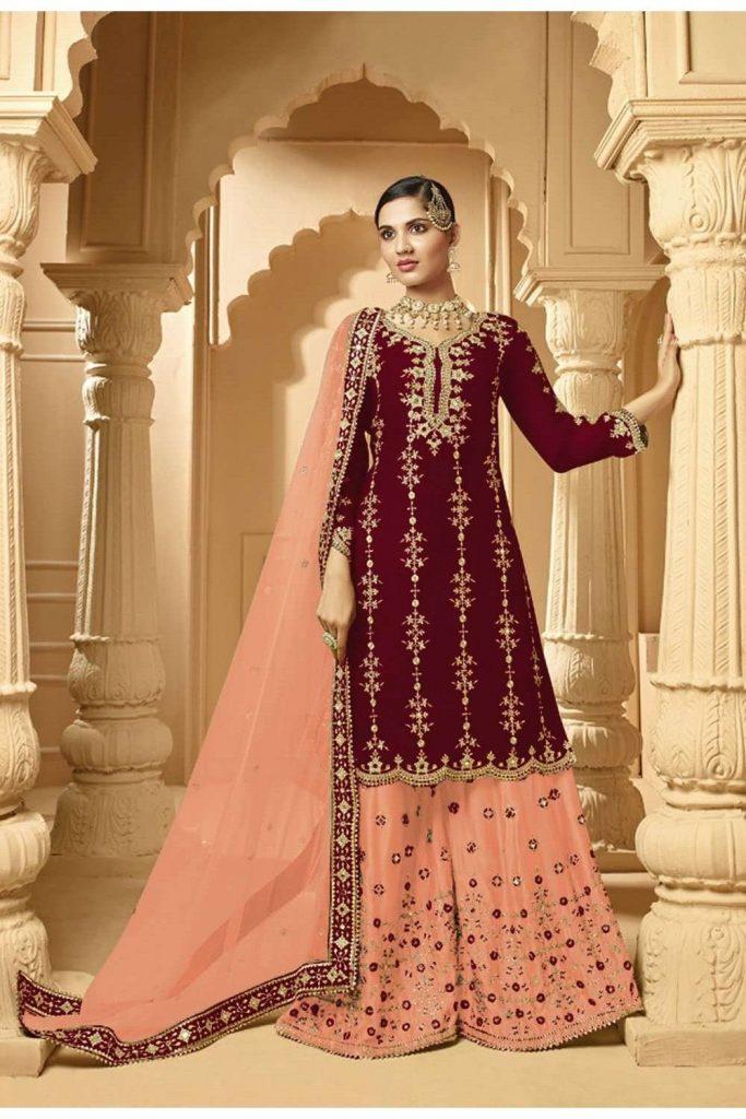 Maroon Sharara Suit Online - Shopkund