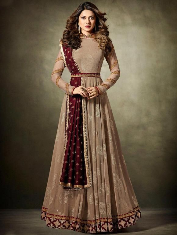 Bollywood-anarkali-suit-in-brown-shopkunduk
