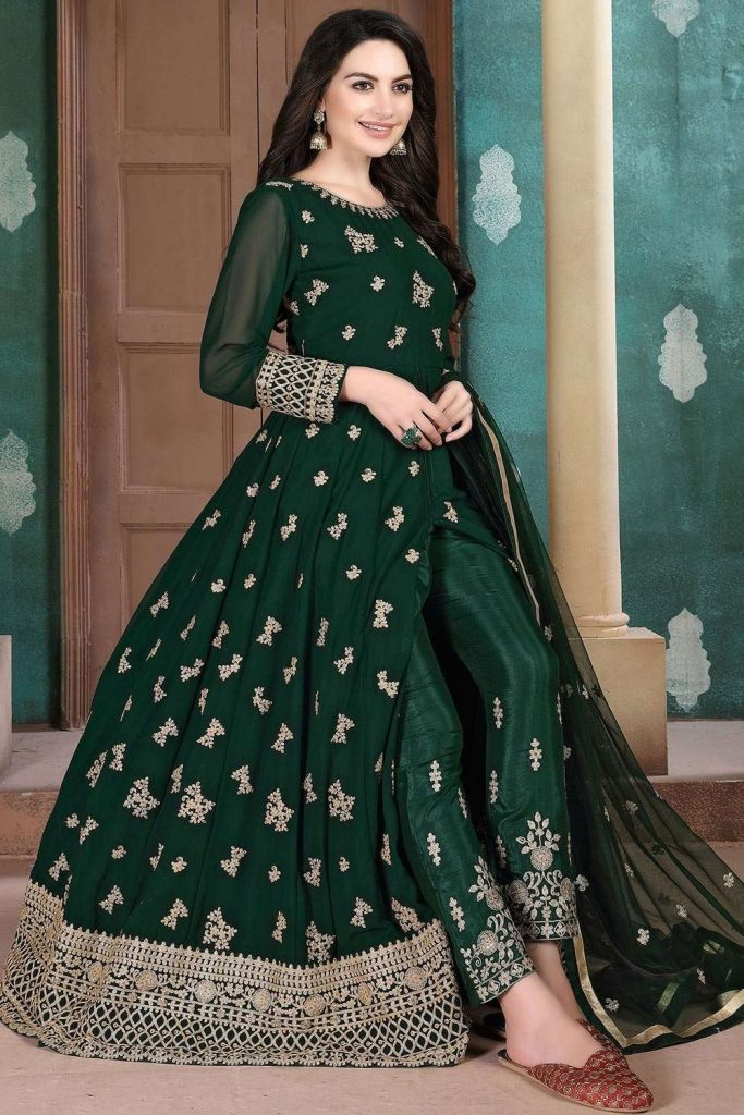 Dark green Georgette Anarkali Suit - Shopkund uk