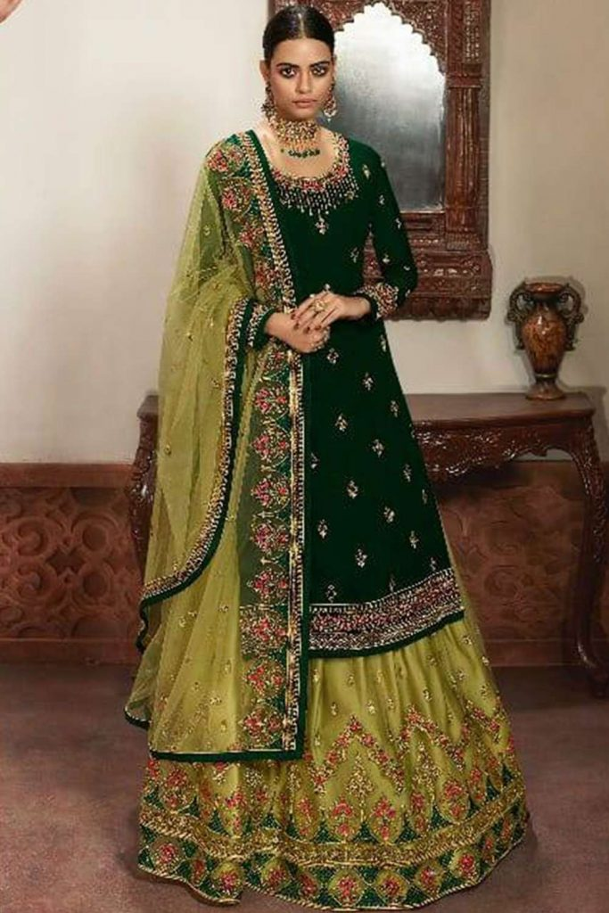 Green Net Lehenga Suit UK - Shopkund