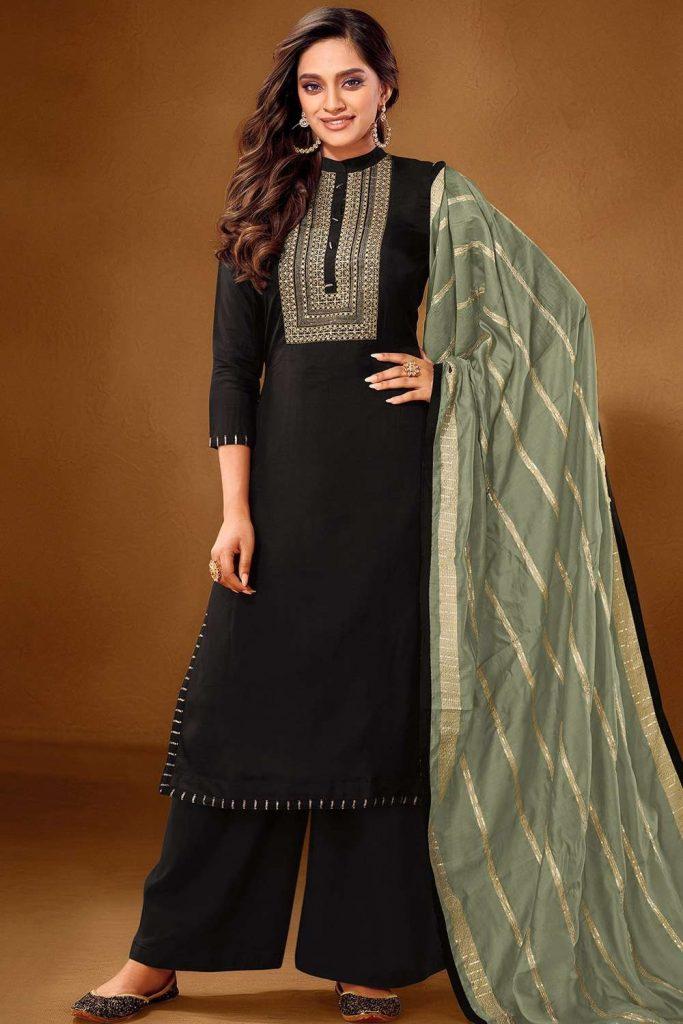 Black Cotton Palazzo Suit UK - Shopkund