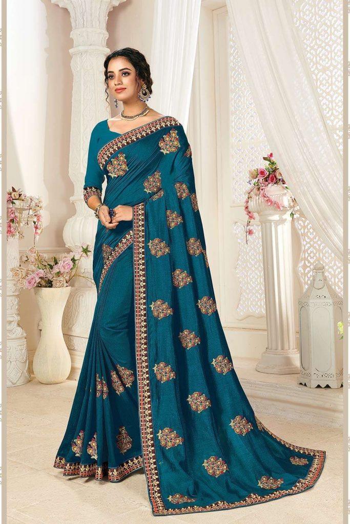 Designer Wedding saree in teal - Shopkund UK