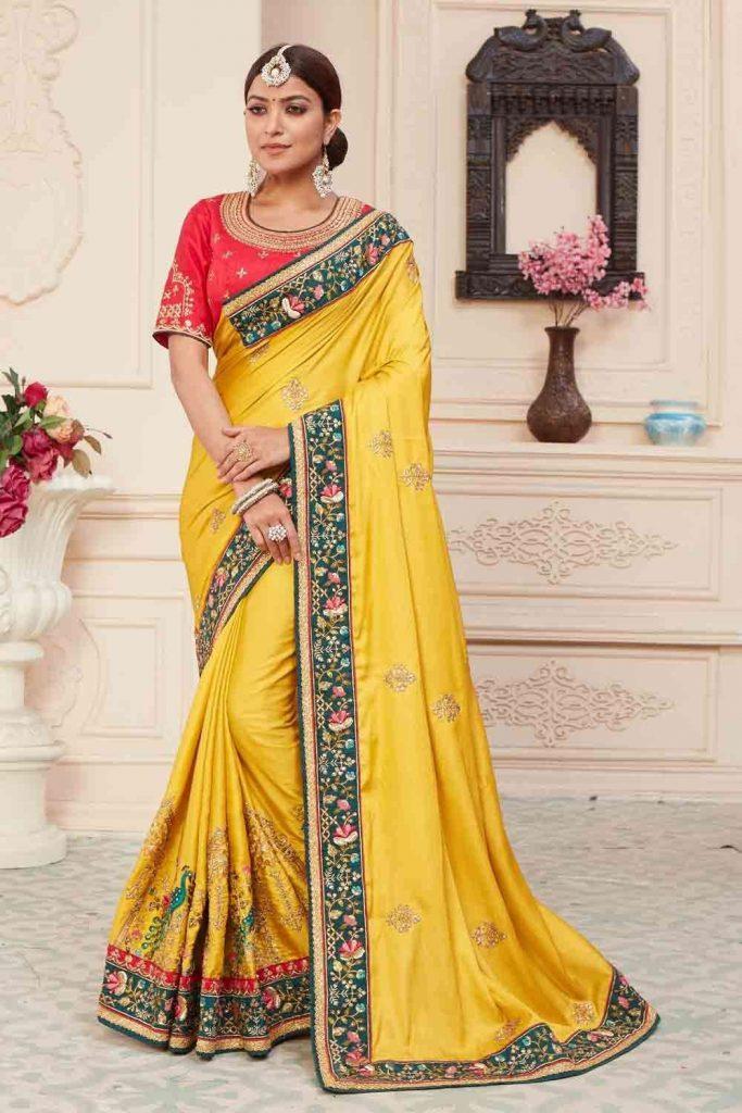 Yellow wedding Sarees UK - Shopkund