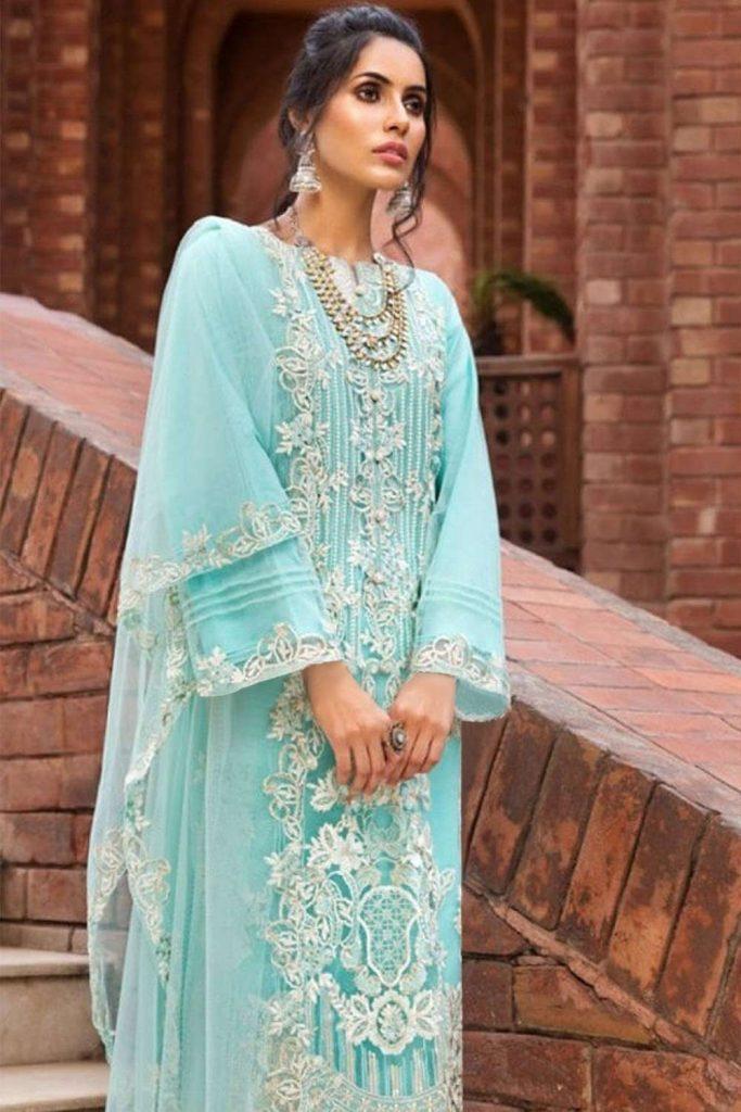 Sky blue Net Salwar Kameez UK